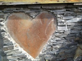 Heart shape in a bridge wall.
